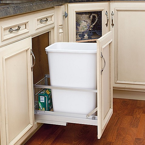 Rev A Shelf Brushed Nickel Pull Out 35 Qt Waste Containers In White Bed Bath Beyond