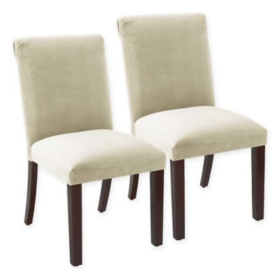 Skyline Furniture Randell Rolled Back Velvet Dining Chair in White (Set of 2)