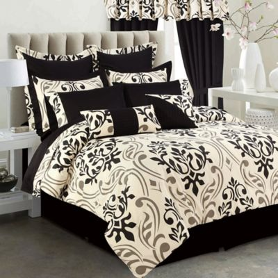 Buy covington 8 piece full comforter set in grey black from bed bath