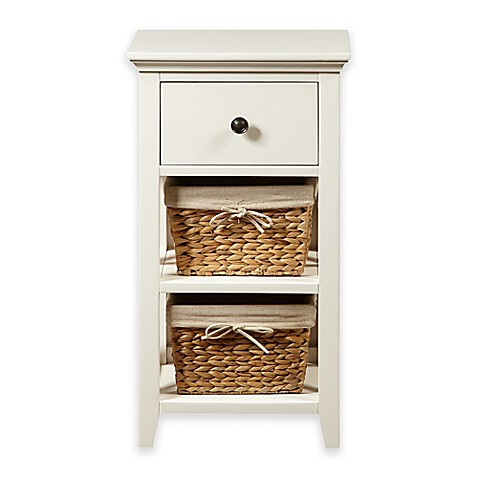 pulaski basket bathroom storage cabinet in linen white