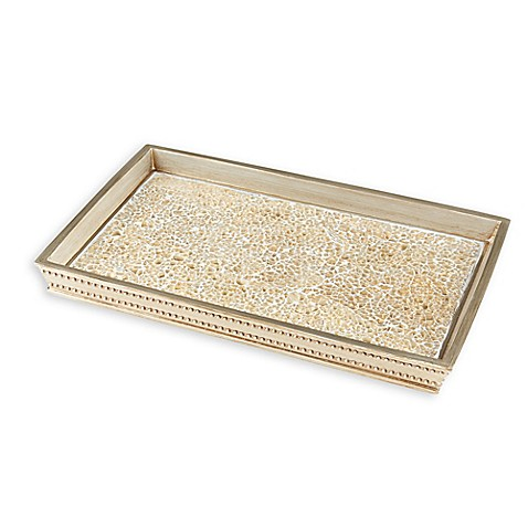 Gold crackle mosaic vanity tray bed bath beyond for Gold crackle bathroom accessories