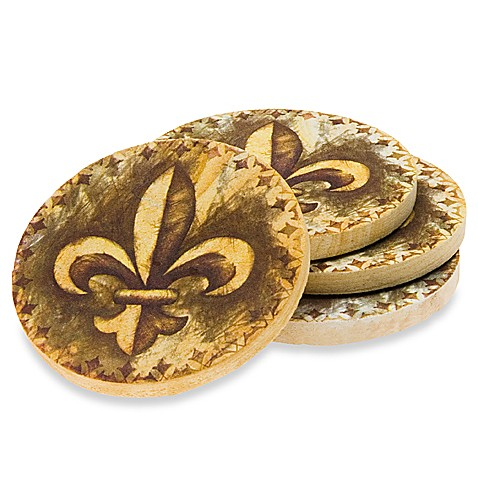 fleur de lis coasters set of 4 bed bath beyond