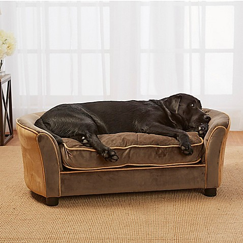 Enchanted home upholstered ultra plush panache pet sofa in for Upholstered dog bed