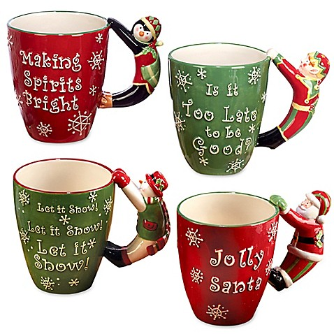 Certified International 3d Handle Novelty Christmas Mugs