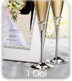 2 Champagne Flutes and a White Picture Frame