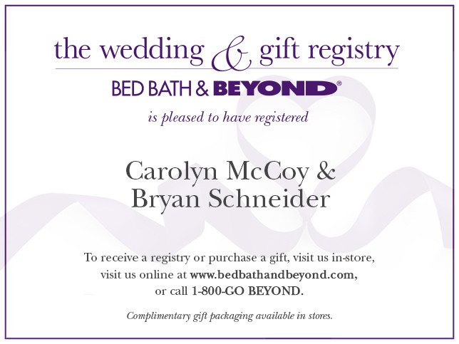 Wedding Gift Card Registry: Bed Bath & Beyond
