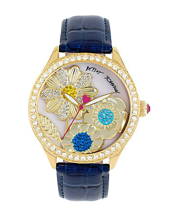3D FLOWERS BLUE WATCH
