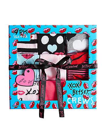 9 PACK JADORE BETSEY CREW SOCK GIFT BOX