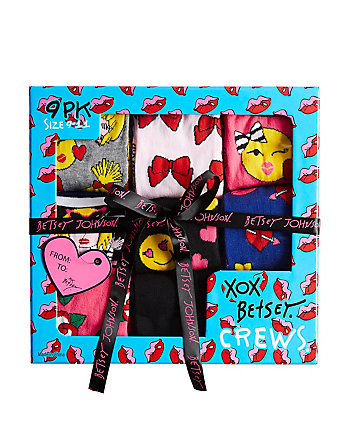 9 PACK OH SO EMOJI BETSEY CREW SOCK GIFT BOX