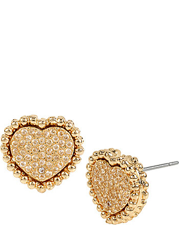 ALL THAT GLITTERS CRYSTAL AND GOLD HEART STUDS