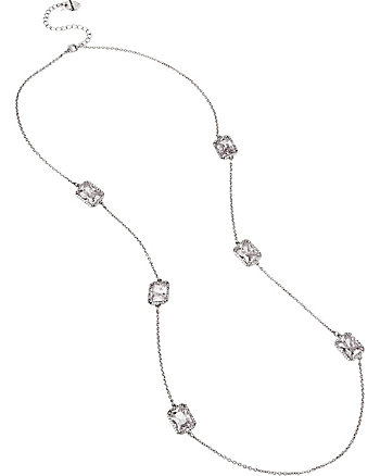 ALL THAT GLITTERS CRYSTAL AND SILVER LONG NECKLACE