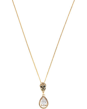 ALL THAT GLITTERS GOLD SKULL DOUBLE DROP PENDANT