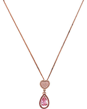ALL THAT GLITTERS PINK HEART DOUBLE DROP PENDANT