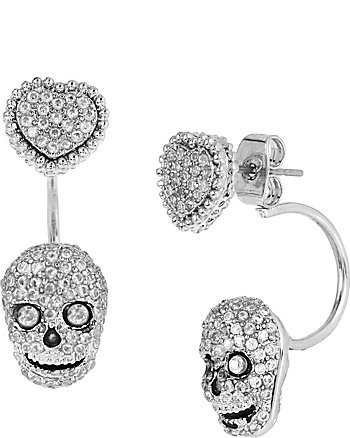 ALL THAT GLITTERS SKULL AND HEART EARRINGS