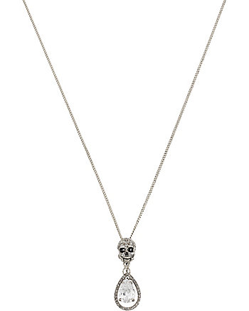 ALL THAT GLITTERS SKULL DOUBLE DROP PENDANT