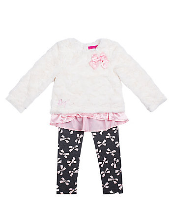 ALLOVER BOWS TODDLER TWO PC LEGGING SET