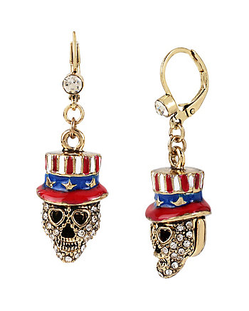 AMERICANA BETSEY SKULL DROP EARRINGS