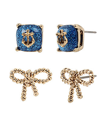 ANCHORS AWAY BOW STUD EARRING SET