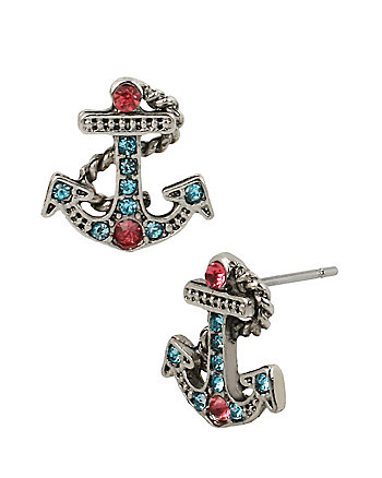 ANCHORS AWAY MINI ANCHOR STUD EARRINGS