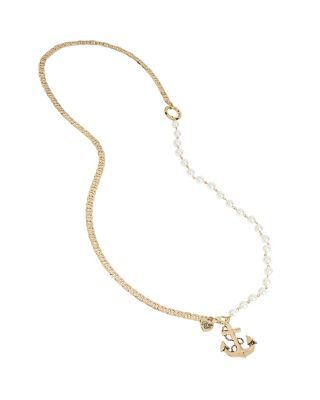 ANCHORS AWAY PEARL AND ANCHOR NECKLACE IVORY