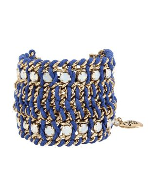 ANCHORS AWAY WIDE WOVEN BRACELET BLUE