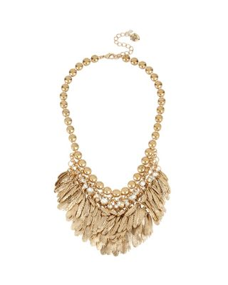 ANGELS AND WINGS FEATHERED BIB NECKLACE CRYSTAL