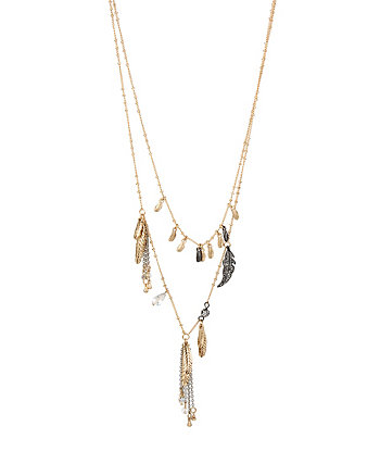 ANGELS AND WINGS TWO ROW FEATHER NECKLACE