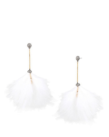 ANGELS AND WINGS WHITE POM POM LINEAR EARRING