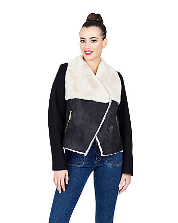 AVIATOR FAUX SHEARLING JACKET WITH CORSET BACK