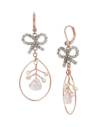 BALLERINA ROSE BOW ORBITAL EARRINGS