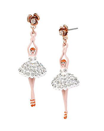 BALLERINA ROSE DANCER ROSE DROP EARRINGS