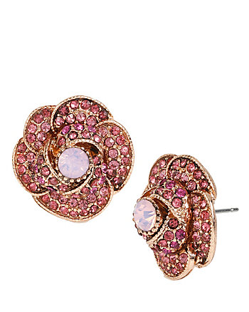 BALLERINA ROSE PAVE ROSE STUD EARRINGS