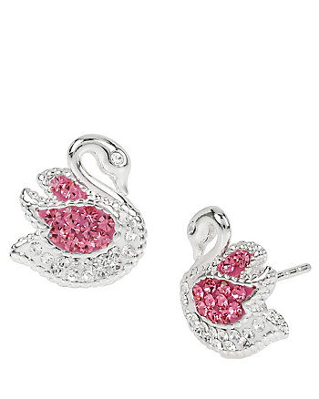 BALLERINA ROSE SWAN STUD EARRINGS
