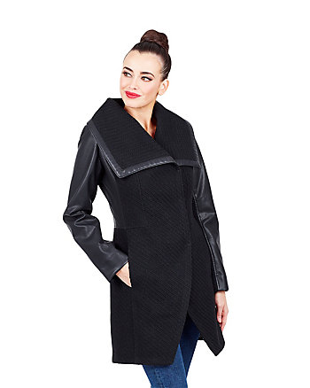 BASKETWEAVE WOOL COAT WITH FAUX LEATHER SLEEVES