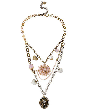 BEADED HEART MULTI CHAIN WOVEN NECKLACE