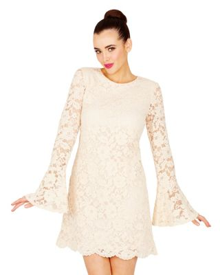 BELLA LACE BELL SLEEVE DRESS BEIGE