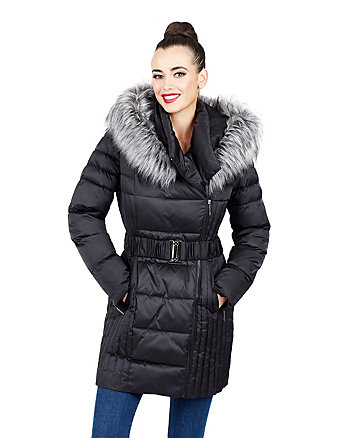 BELTED FAUX FUR TRIMMED PUFFER COAT