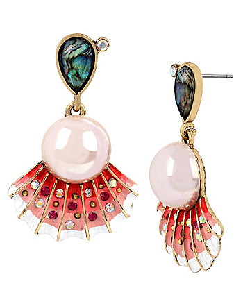 BETSEY AND THE SEA SHELL DROP EARRINGS
