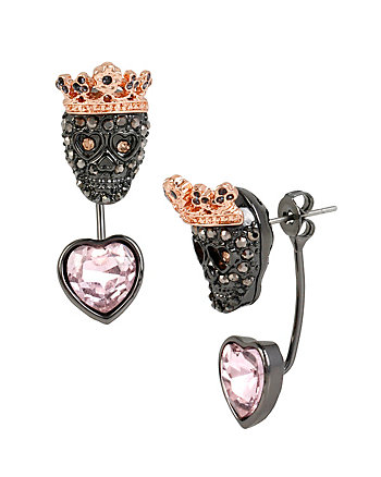 BETSEY BAUBLE SKULL FRONT BACK EARRINGS