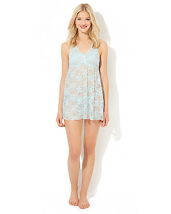 BETSEY BLUE BABYDOLL SET WITH BOW DETAILS