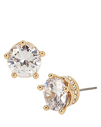 BETSEY BLUE CROWN STUD GOLD EARRINGS