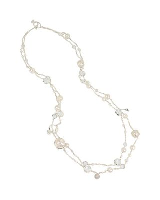 BETSEY BLUE CRYSTAL AND PEARL LONG NECKLACE CRYSTAL