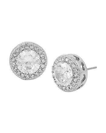 BETSEY BLUE CRYSTAL HALO STUD EARRINGS