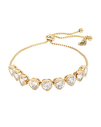 BETSEY BLUE CRYSTAL HEARTS GOLD SLIDER BRACELET