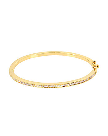 BETSEY BLUE CRYSTAL SINGLE ROW GOLD BANGLE