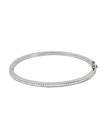 BETSEY BLUE CRYSTAL SINGLE ROW SILVER BANGLE
