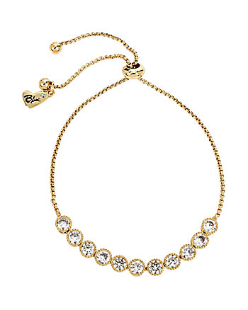 BETSEY BLUE CRYSTAL SLIDER GOLD NECKLACE