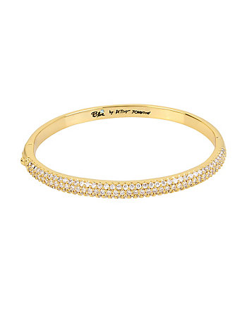BETSEY BLUE CRYSTAL THREE ROW GOLD BANGLE