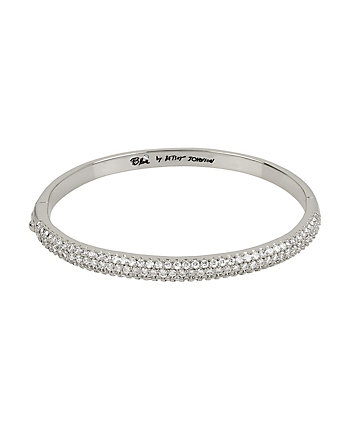 BETSEY BLUE CRYSTAL THREE ROW SILVER BANGLE