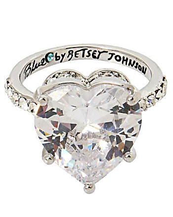 BETSEY BLUE HEART CROWN RING
